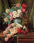 Modeste Carlier Still Life Of Roses And Other Flowers On A Draped Table painting