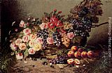 Modeste Carlier Still Life Of Roses, Peaches And Grapes In A Basket painting