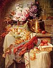 Modeste Carlier Still Life With A Lobster And Assorted Fruit And Flowers painting