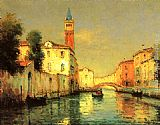 Noel Bouvard On a venetian Canal painting