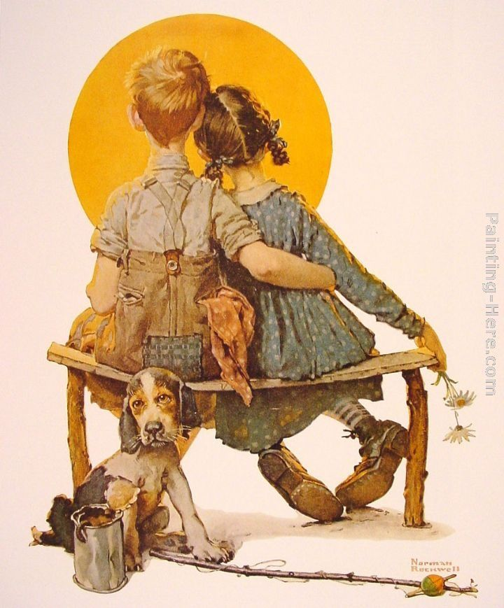 Norman Rockwell Boy and Girl gazing at the Moon