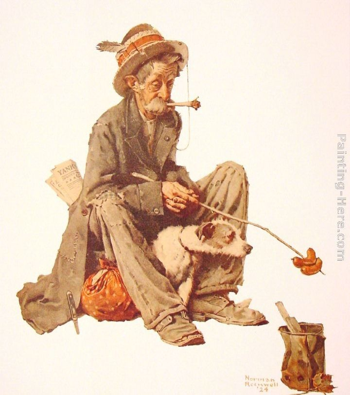 Norman Rockwell Hobo and Dog