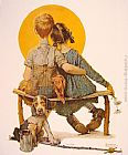 Norman Rockwell Boy and Girl gazing at the Moon painting
