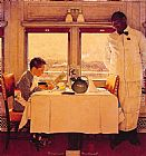 Norman Rockwell Boy in a Dining Car painting