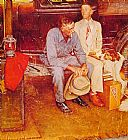 Norman Rockwell Breaking Home Ties painting