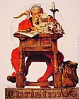 Norman Rockwell Christmas - Santa Reading Mail painting