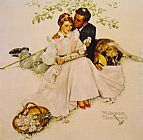 Norman Rockwell Flowers in Tender Bloom painting