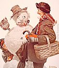 Norman Rockwell Grandfather and Snowman painting