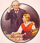 Norman Rockwell Grandpa Listening In on the Wireless painting