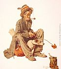 Norman Rockwell Hobo and Dog painting