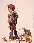 Norman Rockwell Little Boy holding Chalk Board painting