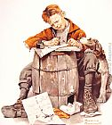 Norman Rockwell Little boy writing a letter painting