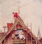 Norman Rockwell New Television Antenna painting