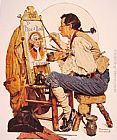 Norman Rockwell Pipe and Bowl sign Painter painting