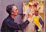 Norman Rockwell Portrait of Norman Rockwell Painting the Soda Jerk painting