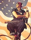Norman Rockwell Rosie the Riveter painting