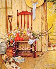 Norman Rockwell Spring Flowers painting