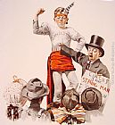 Norman Rockwell The Circus Barker painting