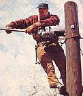 Norman Rockwell The Lineman painting