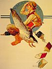 Norman Rockwell Vacation Boy riding a Goose painting