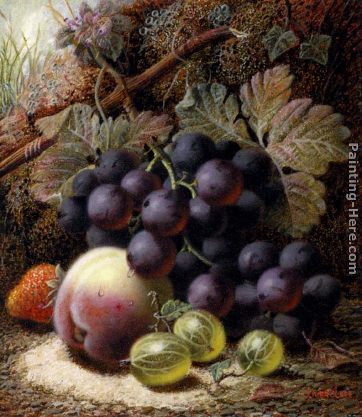 Oliver Clare Still Life with Black Grapes, a Strawberry, a Peach and Gooseberries on a Mossy Bank