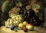 Oliver Clare Grapes, Apples, A Plum, A Peach And A Strawberry, On A Mossy Bank painting
