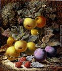 Oliver Clare Still Life with Apples, Plums and Raspberries on a Mossy Bank painting