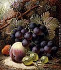 Oliver Clare Still Life with Black Grapes, a Strawberry, a Peach and Gooseberries on a Mossy Bank painting