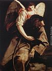 Orazio Gentleschi St Francis and the Angel painting