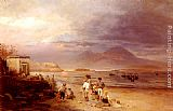 Oswald Achenbach Fishermen with the Bay of Naples and Vesuvius beyond painting
