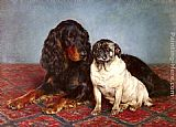 Otto Bache A Spaniel And A Pug painting