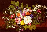 Otto Didrik Ottesen A Bouquet Of Spring Flowers On A Ledge painting