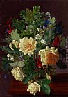 Otto Didrik Ottesen A Still Life With Yellow Roses And Freesia painting