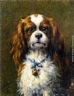 Otto Eerelman A King Charles Spaniel with a Blue Ribon painting