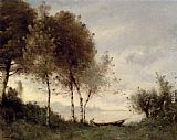 Paul Desire Trouillebert Boatman On A River Landscape painting