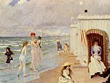Paul Gustave Fischer A Day At The Beach painting