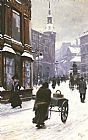 Paul Gustave Fischer A Street Scene In Winter, Copenhagen painting