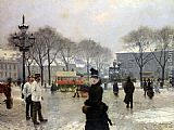 Paul Gustave Fischer A Winter's Day on Kongens Nytorv Copenhagen painting