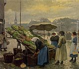 Paul Gustave Fischer At the Vegetable Market painting