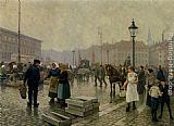 Paul Gustave Fischer The Fish Market at Gammelstrand Copenhagen painting