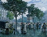 Paul Gustave Fischer The Flower Market painting