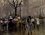 Paul Gustave Fischer The Flower Market, Copenhagen painting