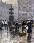 Paul Gustave Fischer The Storkespringvandet in Amagertorv painting
