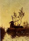 Paul Joseph Constantine Gabriel A Windmill At Dusk painting