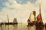 Paul-Jean Clays Moored Ships In A Small Harbour painting