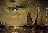 Paul-Jean Clays Shipping off the Coast in the Moonlight painting