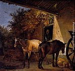 Paulus Potter A Barnyard With Two Plough Horses painting