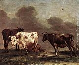 Paulus Potter Cows in a Meadow painting