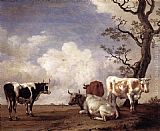 Paulus Potter Four Bulls painting