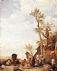 Paulus Potter Peasant Family with Animals painting